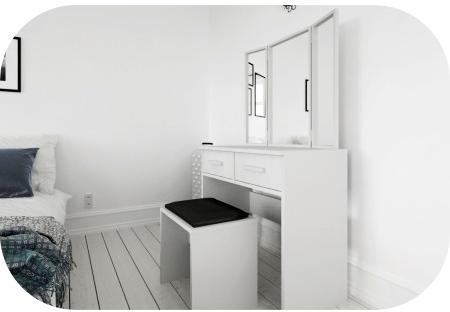 wishlist, favi.cz, kosmetický stolek, toaletka, toaletní stolek, krása, beauty, cosmetics, girly, woman, white, minimalistic, simple, clean, clear, black, taburet, černý, bílý nábytek, furniture, glass, mirror, zrcadla, 3, 2 šuplíky, zásuvky, pokoj, bedroom, ložnice, dream, sen, inspirace, home decor, design, blogerka, český blog, móda, fashion, blogger, lifestle, design, imagination, představivost, lola-j